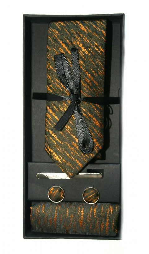 Bronze & Black Embossed Print Tie, Cuff Link & Pocket Square Set